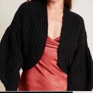 Anthropologie Rae Black open cardigan sweater chunky knit Wool and alpaca